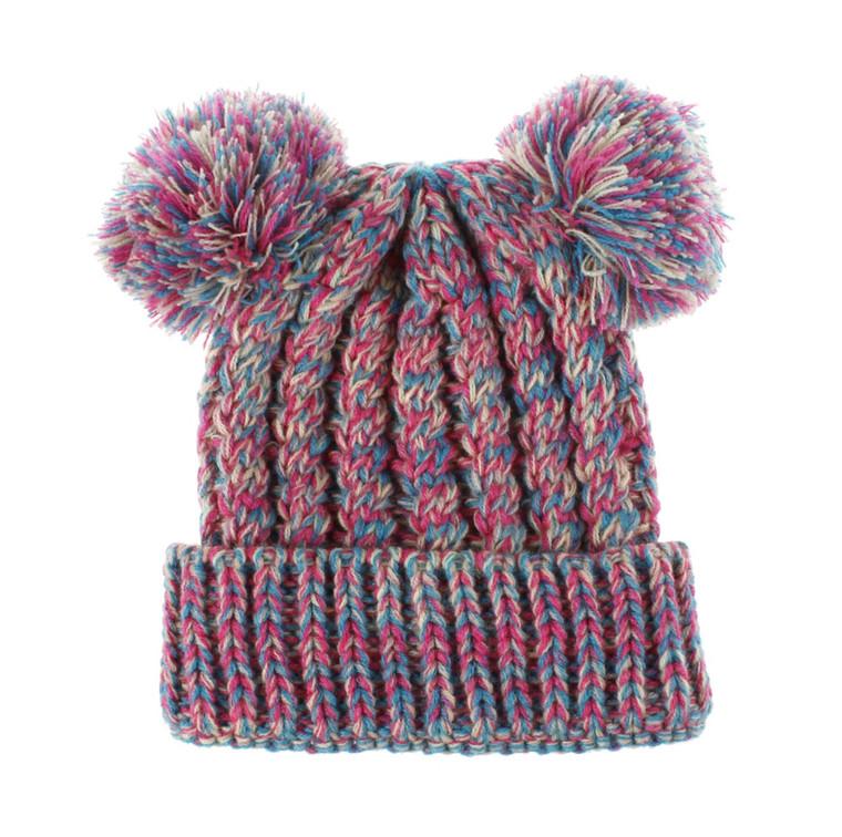 Bobble Knit Satin Lined Winter Hat for Kids - Pink & Blue