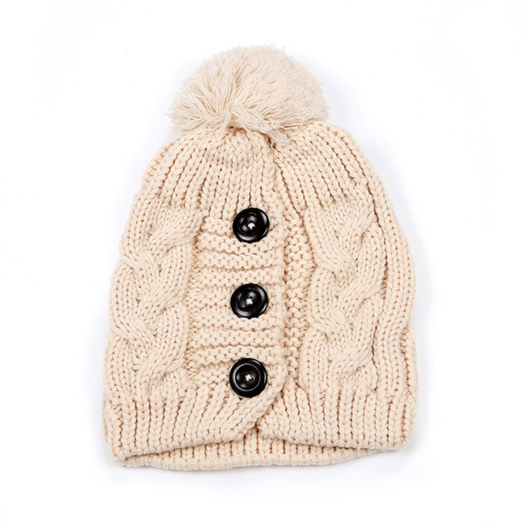 Button Up Pom Hat - Cream