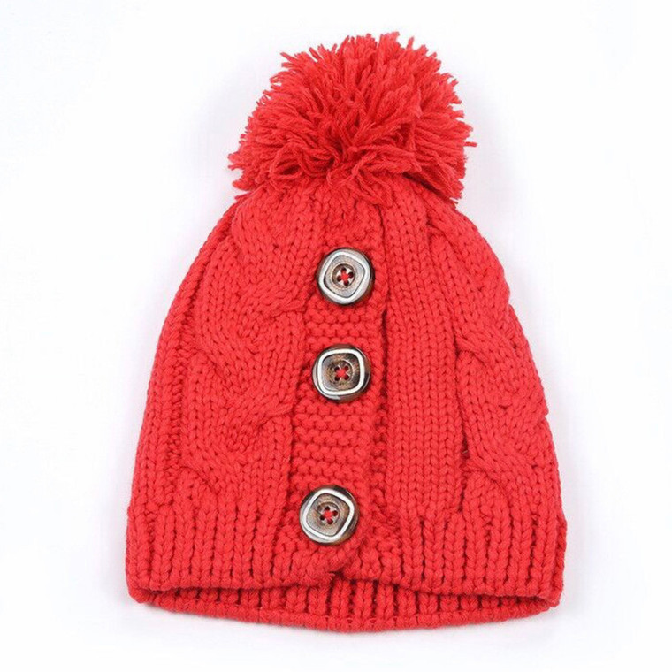 Button Up Pom Hat - Red