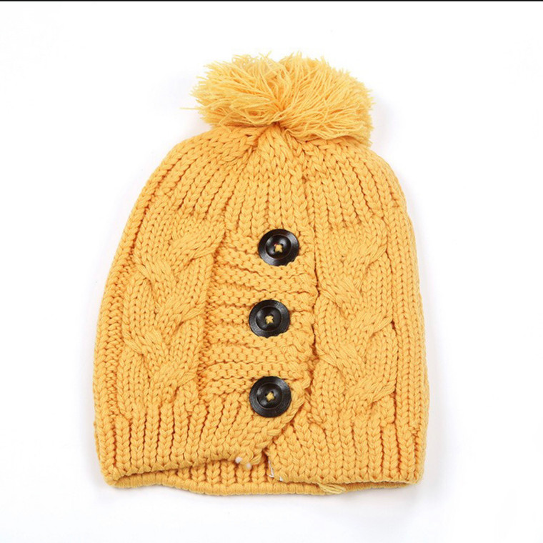 Button Up Pom Hat - Mustard