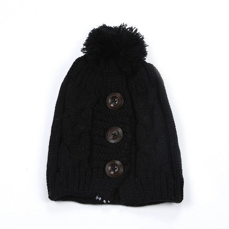 Button Up Pom Hat - Black