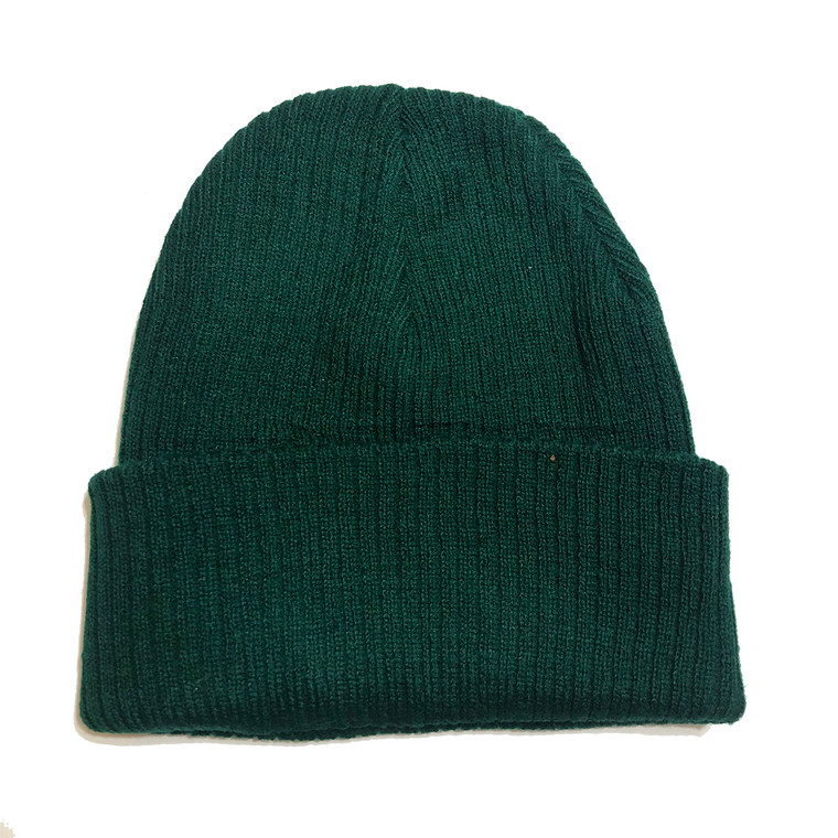Knit Beanie Hat - Forest Green