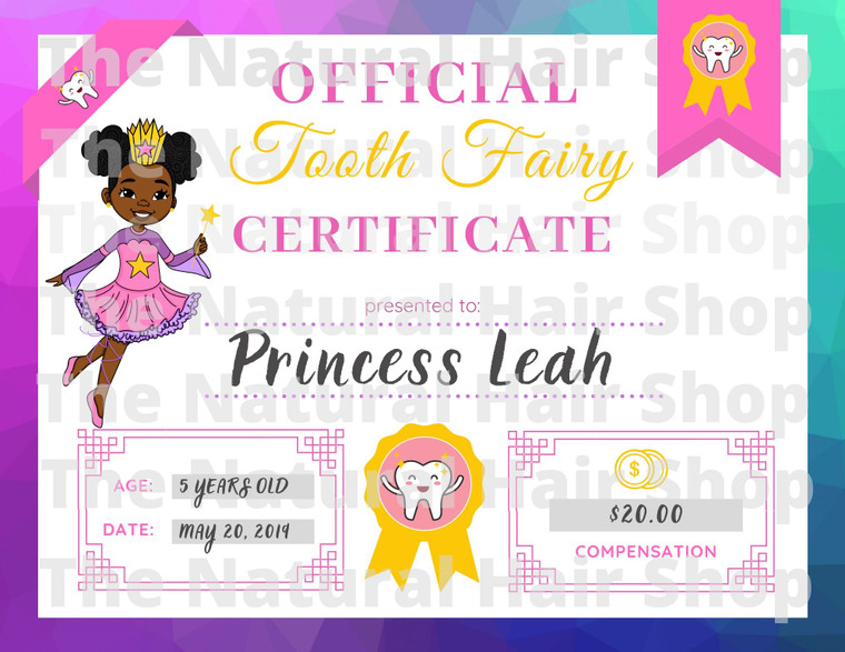 Melanin Tooth Fairy Certificate Downloadable .pdf File