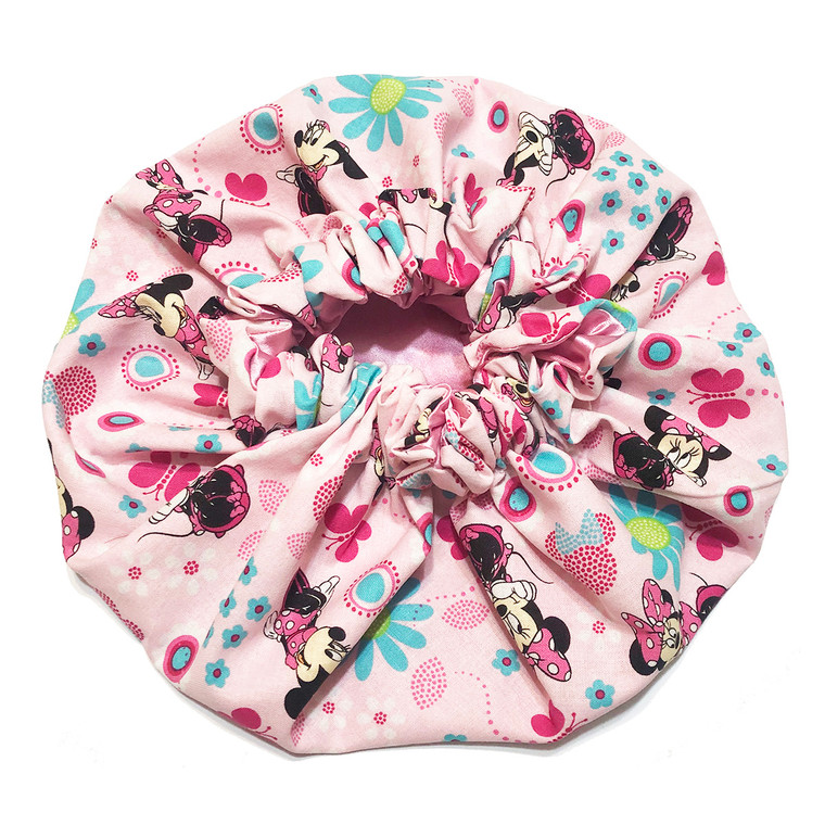 Minnie Mouse Pink Posies Satin Bonnet