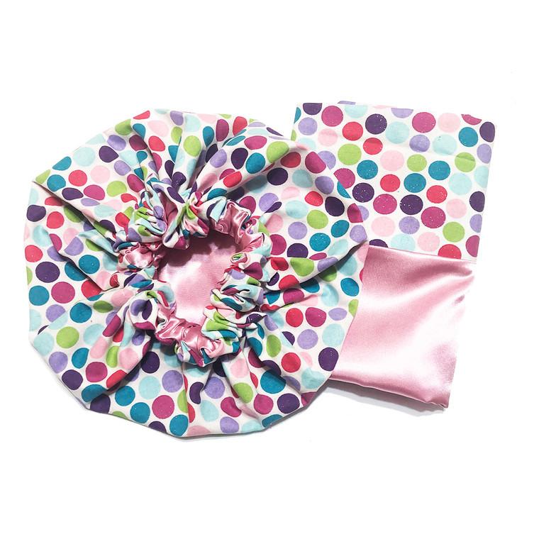 Glitter Dots Bonnet and Pillowcase Set