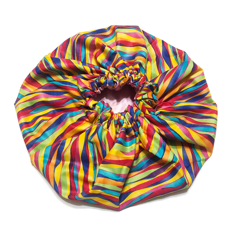 Rainbow Ribbon Satin Bonnet