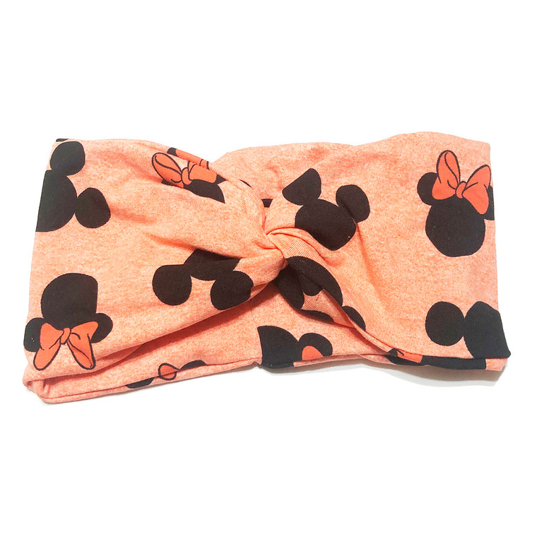 Minnie Bows Orange Turban Headband