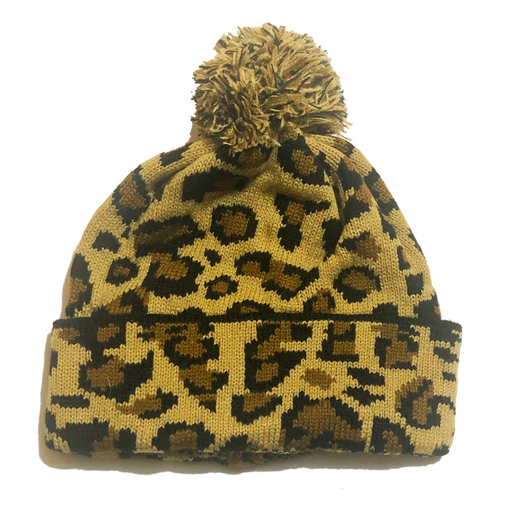 Cheetah Pom Knit Hat - Brown