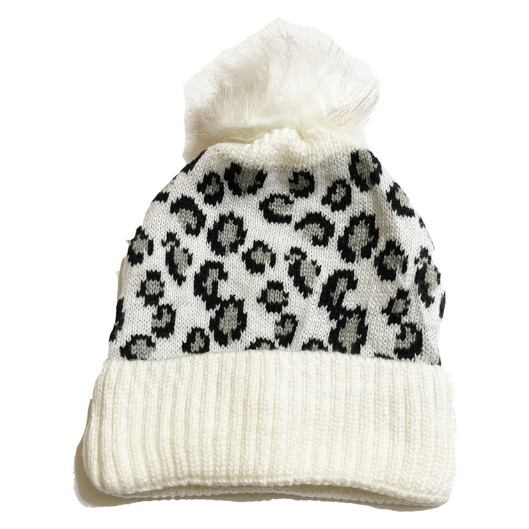 Cheetah Pom Knit Hat - White