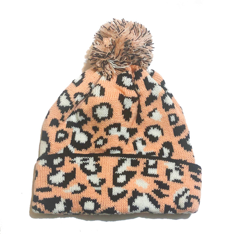 Cheetah Pom Knit Hat - Peach