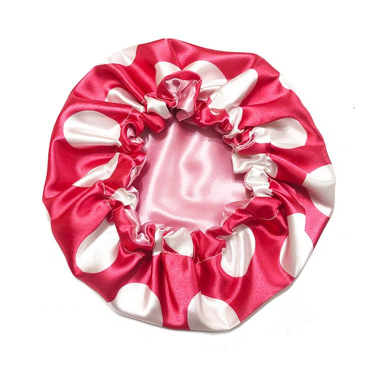 Fuchsia Dots Reversible Satin Bonnet