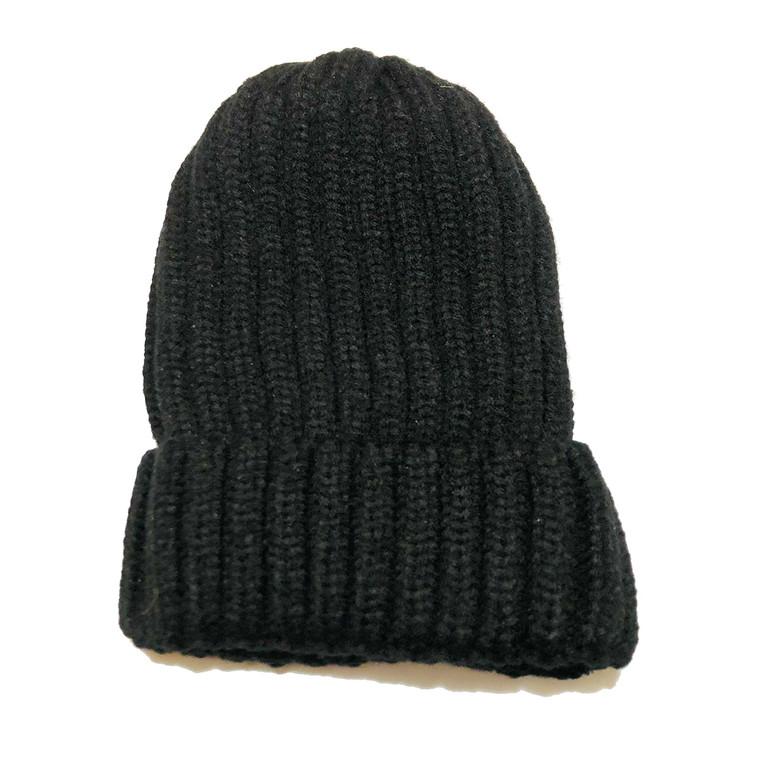 Ribbed Beanie Hat - Black