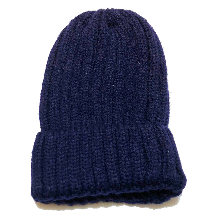 Ribbed Beanie Hat - Navy