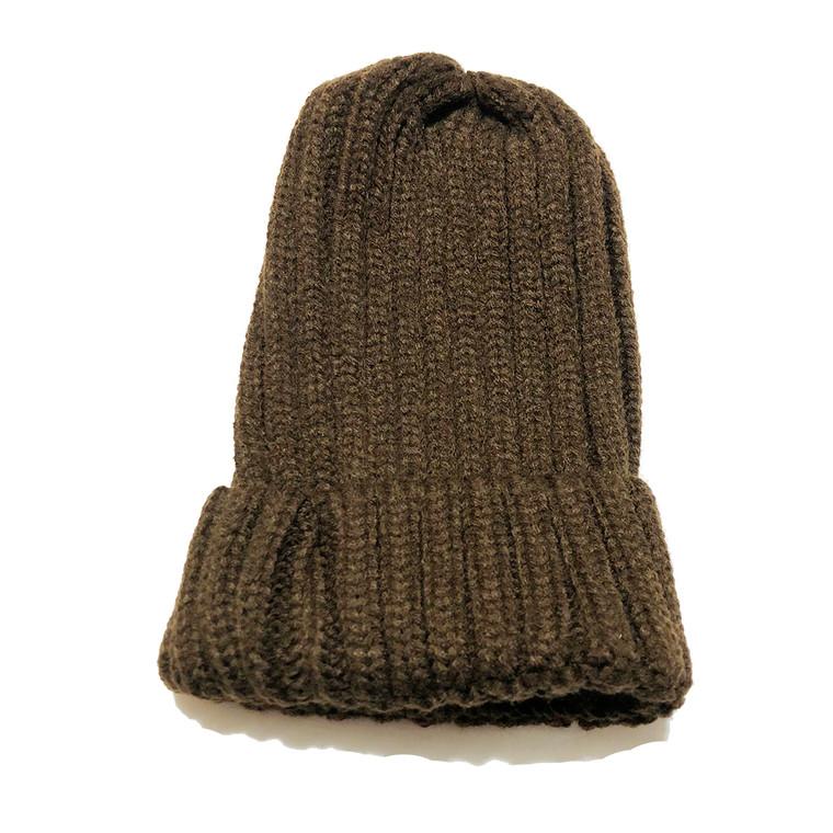 Ribbed Beanie Hat - Brown