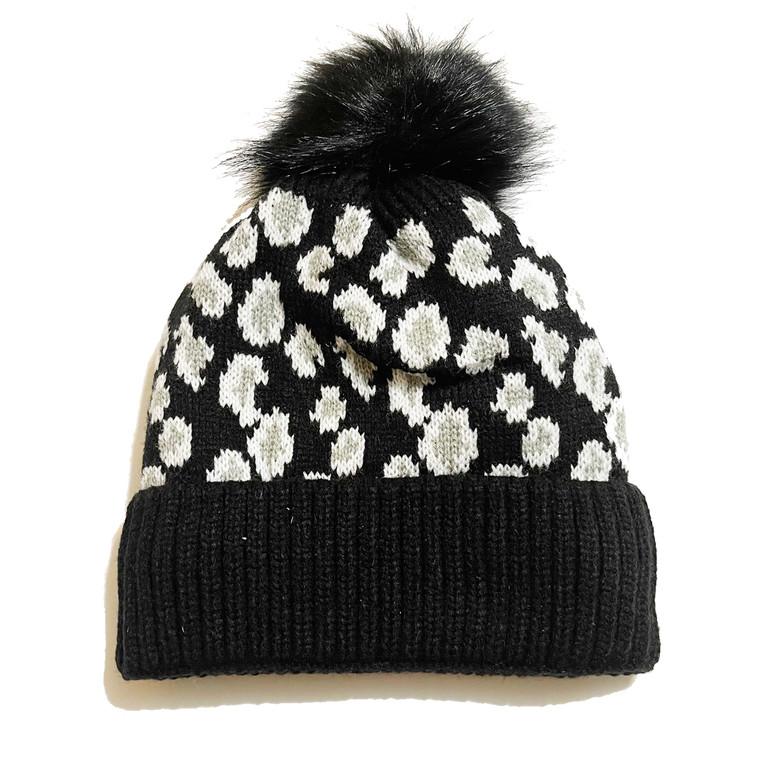 Cheetah Pom Knit Hat - Black