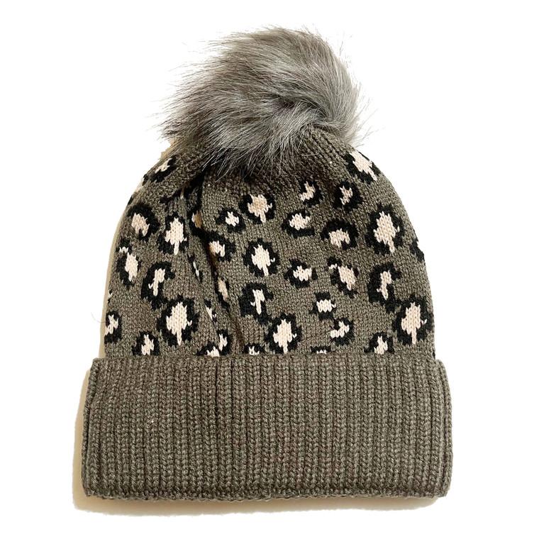 Cheetah Pom Knit Hat - Dark Brown and Pink