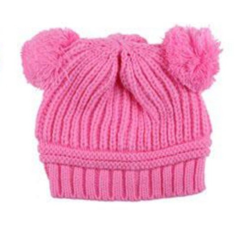 Poms Toddler Knit Hat - Pink
