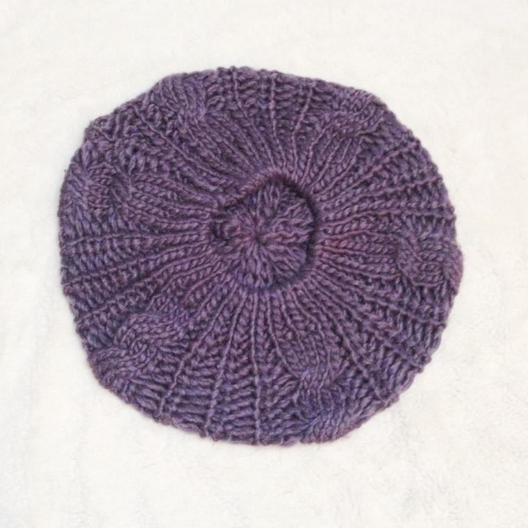 Dark Purple Knit Beanie (Satin Lining Optional)