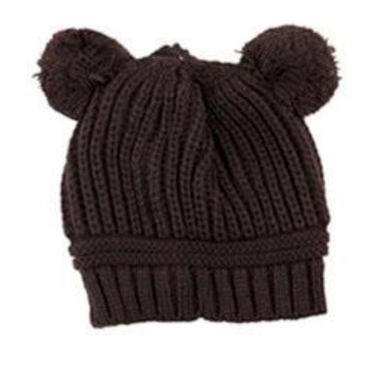 Poms Toddler Knit Hat - Brown