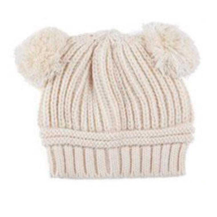 Poms Toddler Knit Hat - Cream