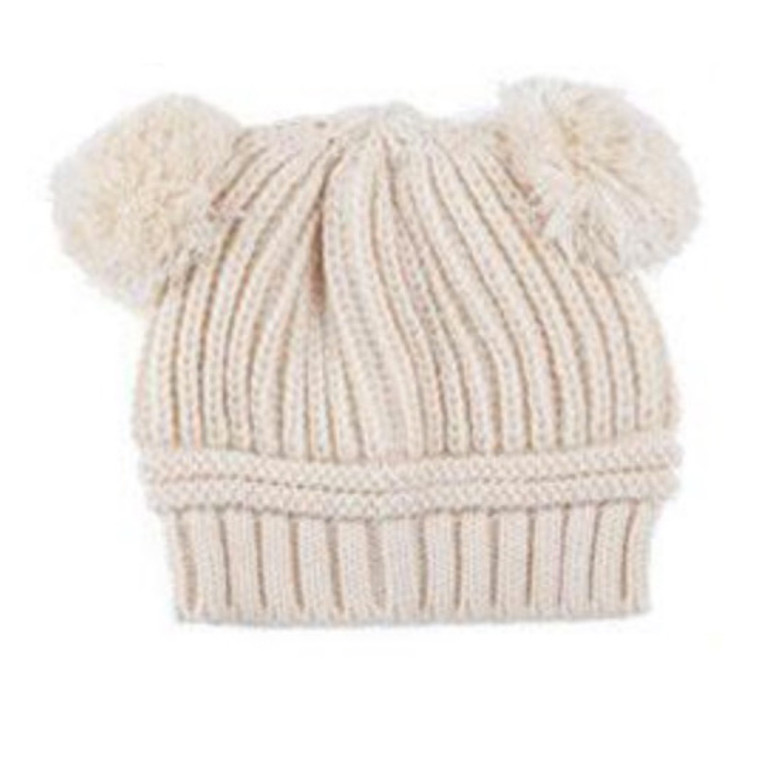 Poms Toddler Knit Hat - Cream