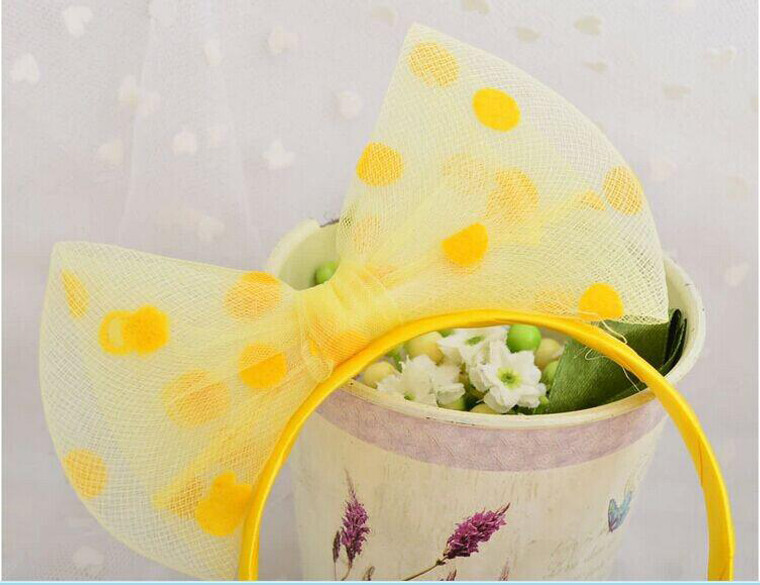 Yellow Spotted Tulle Bow Headband