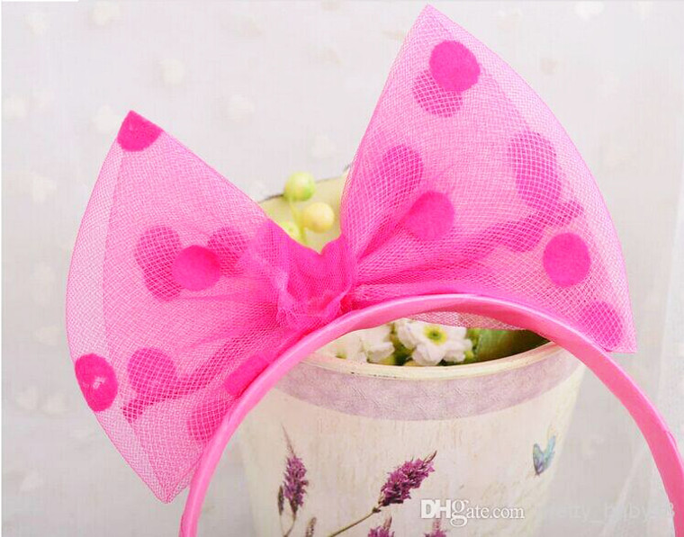 Hot Pink Spotted Tulle Bow Headband