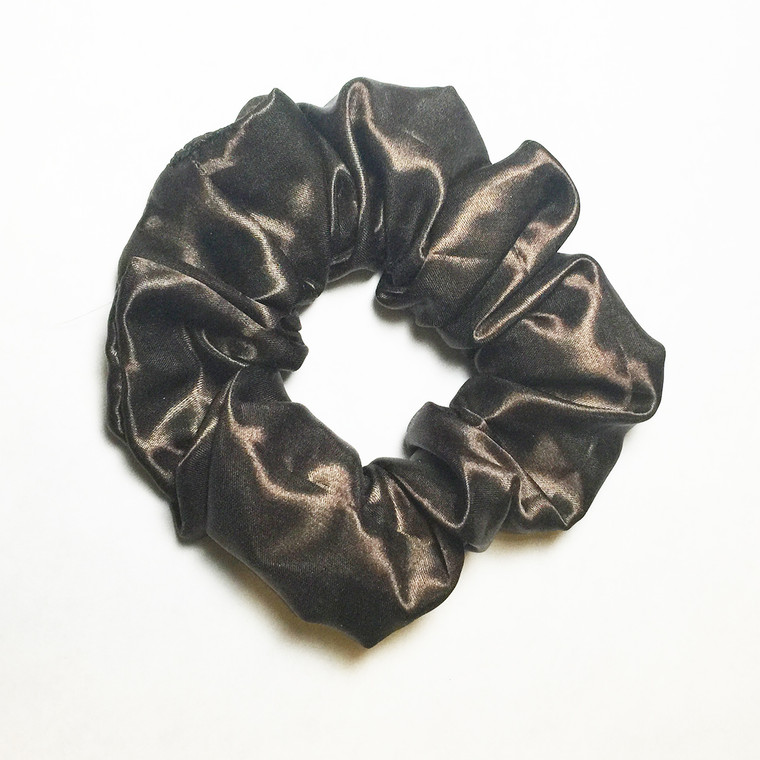 Solid Brown Satin Scrunchie