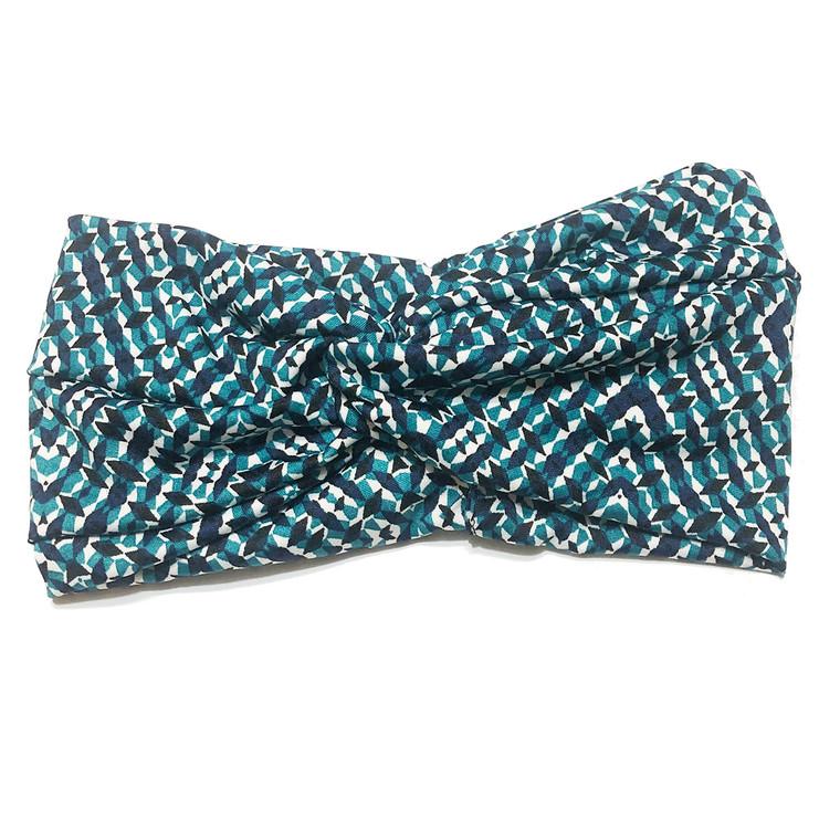 Blue Glitzy Turban Headband