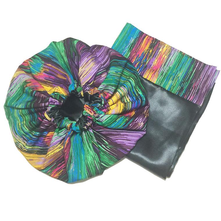 Color Streak Satin Bonnet and Pillowcase Set