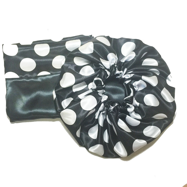 Oreo Cookie Reversible Satin Bonnet and Pillowcase Set