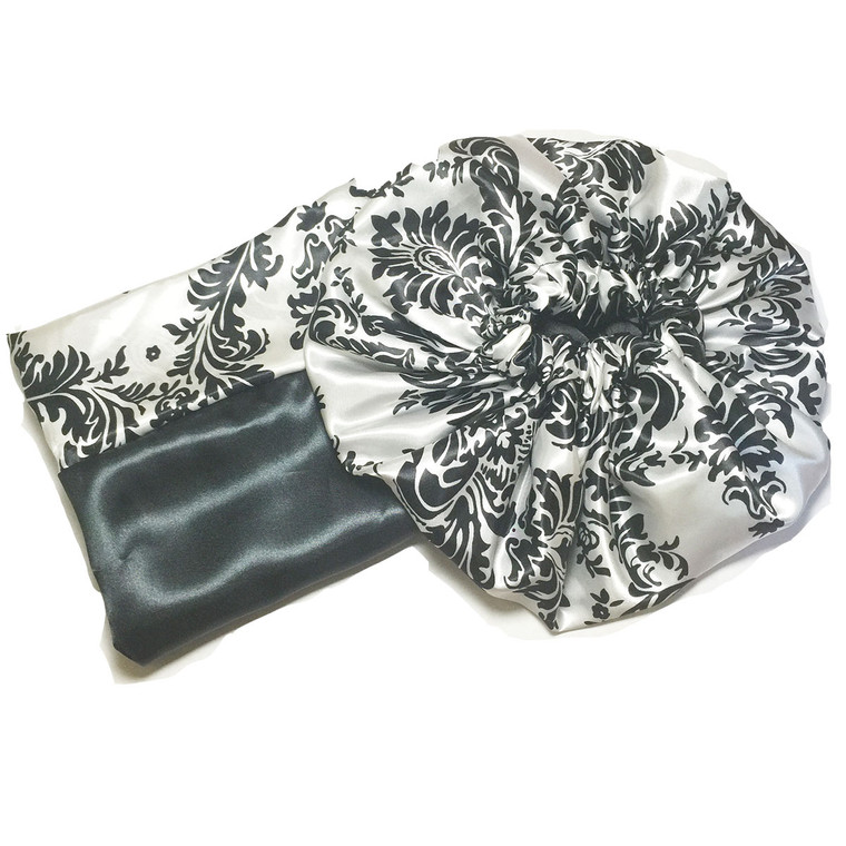 Fancy Reversible Satin Bonnet and Pillowcase Set