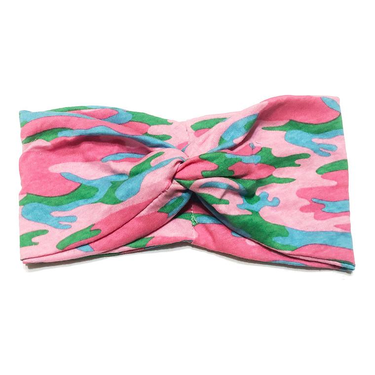 Pink Camo Turban Headband