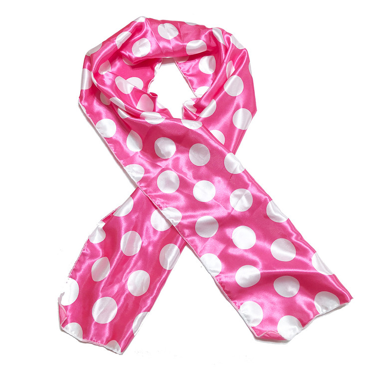 Pink Dots Edge Laying Rectangular Satin Scarf