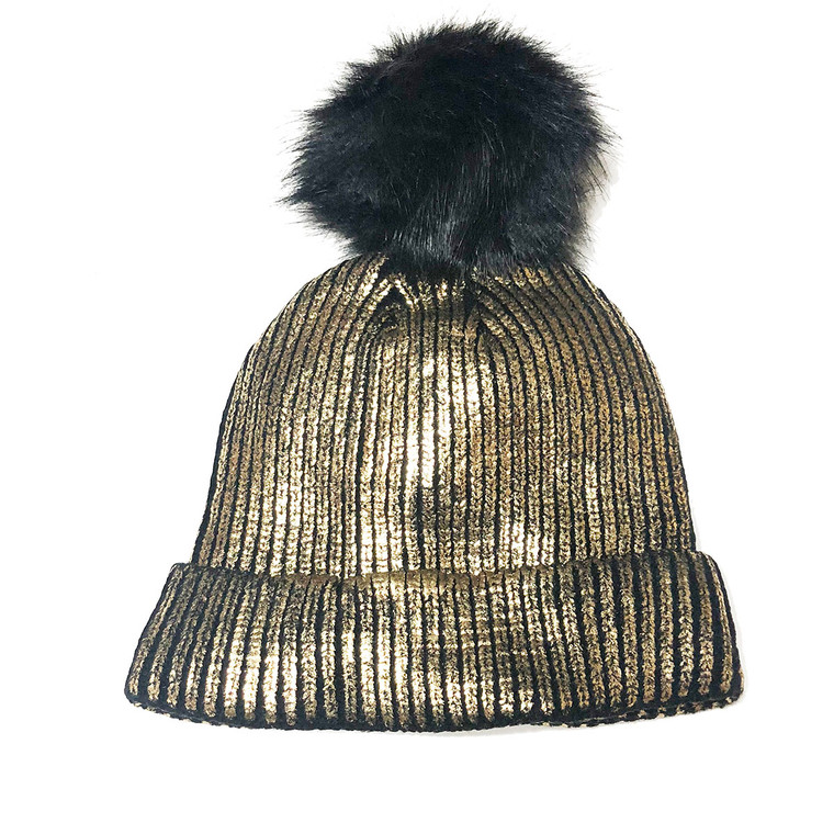 Shimmer Pom Knit Hat - Gold