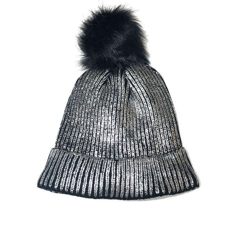 Shimmer Pom Knit Hat - Silver