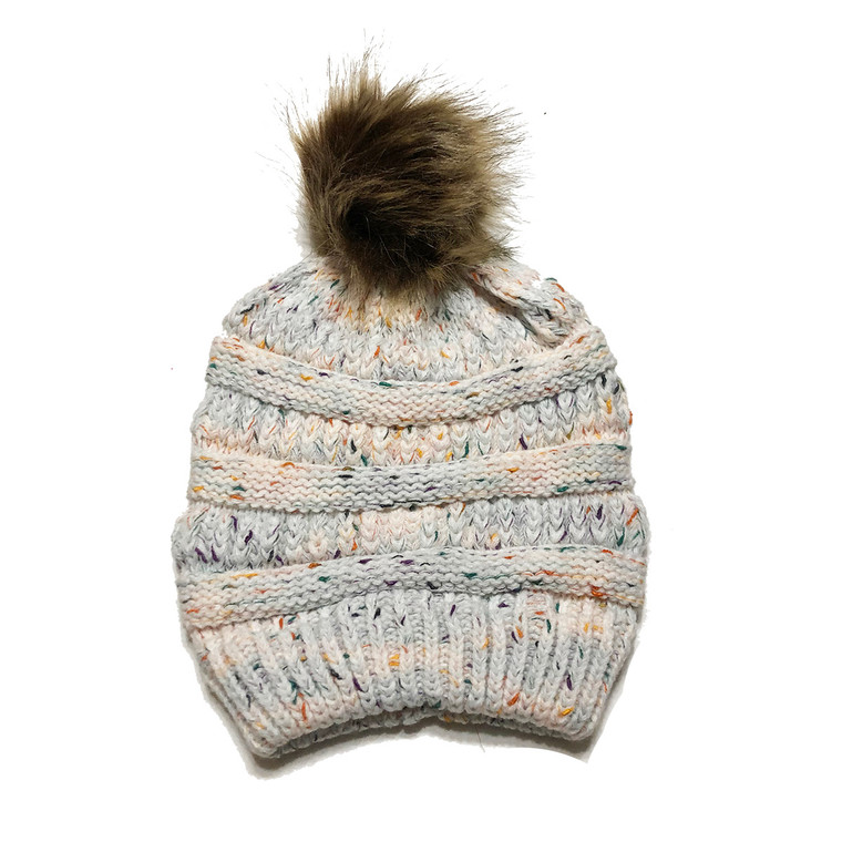 Speckled Pom Hat - Cream