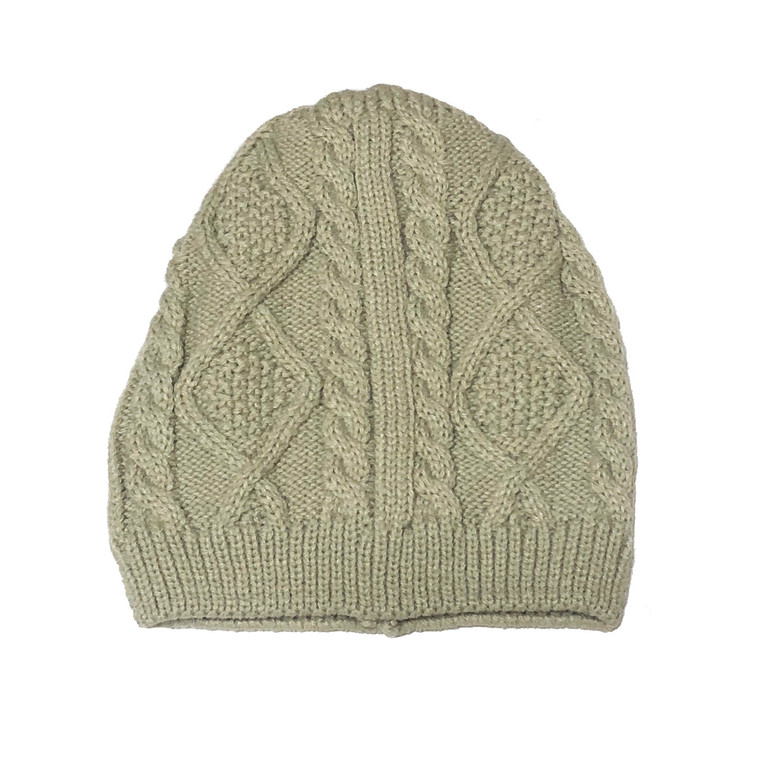 Cream Kids Cable Knit Hat