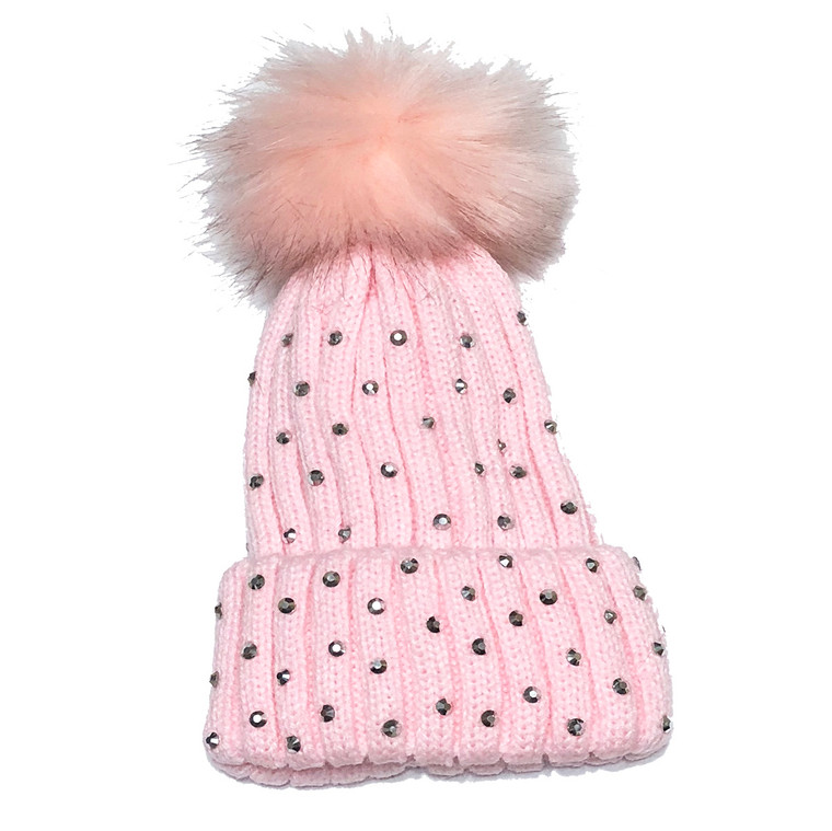 Rhinestone Newborn and Infant Hat - Pink