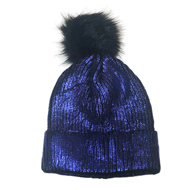 Shimmer Pom Knit Hat - Navy Blue
