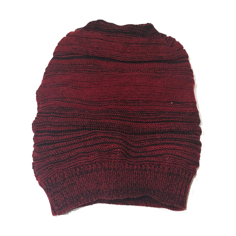 striped slouchy knit hat - Red and black