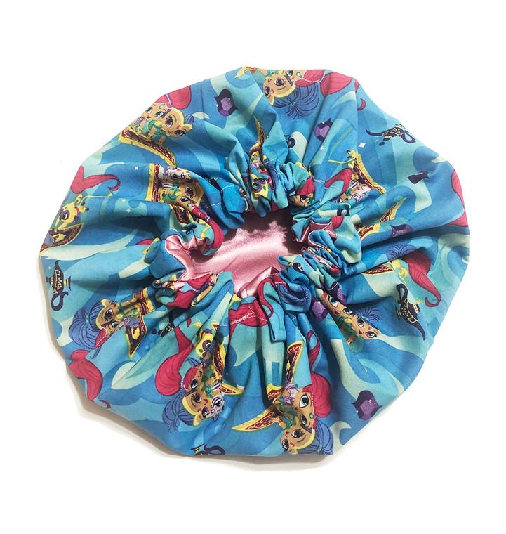 Shimmer and Shine Blue Satin Bonnet
