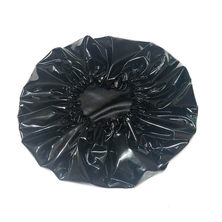 Black Oversized Satin Lined Shower Cap
