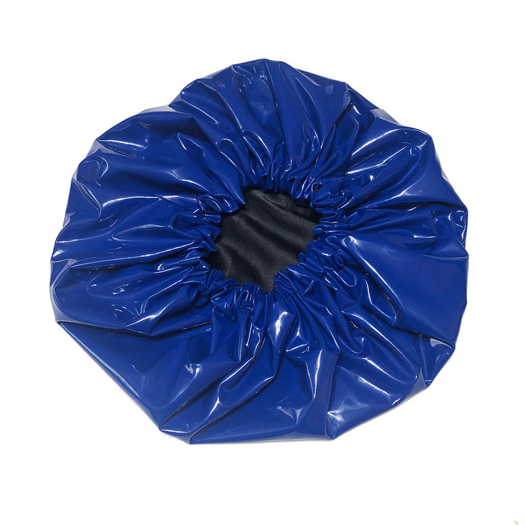 Blue Oversized Satin Lined Shower Cap