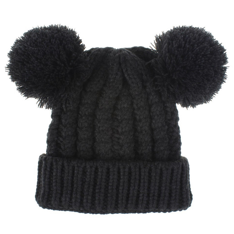 Bobble Knit Satin Lined Winter Hat for Kids - Black