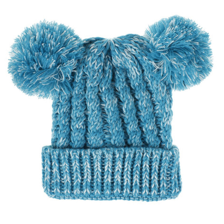 Bobble Knit Satin Lined Winter Hat for Kids - Aqua