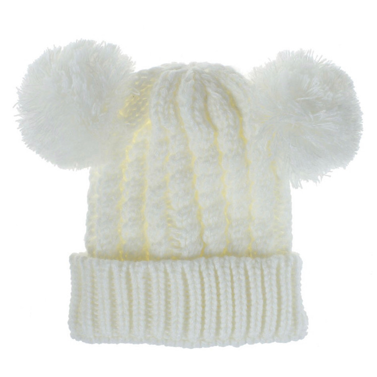 Bobble Knit Satin Lined Winter Hat for Kids - Cream