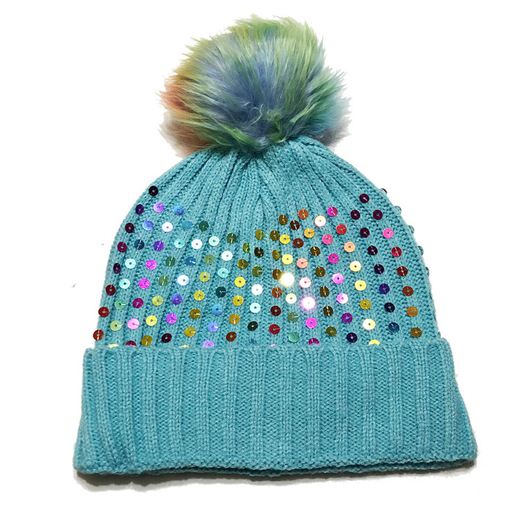 Kids Sequin Pom Pom Hat - Baby Blue