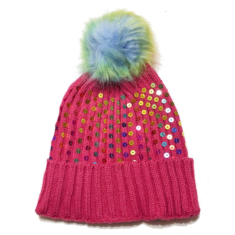 Kids Sequin Pom Pom Hat - Hot Pink