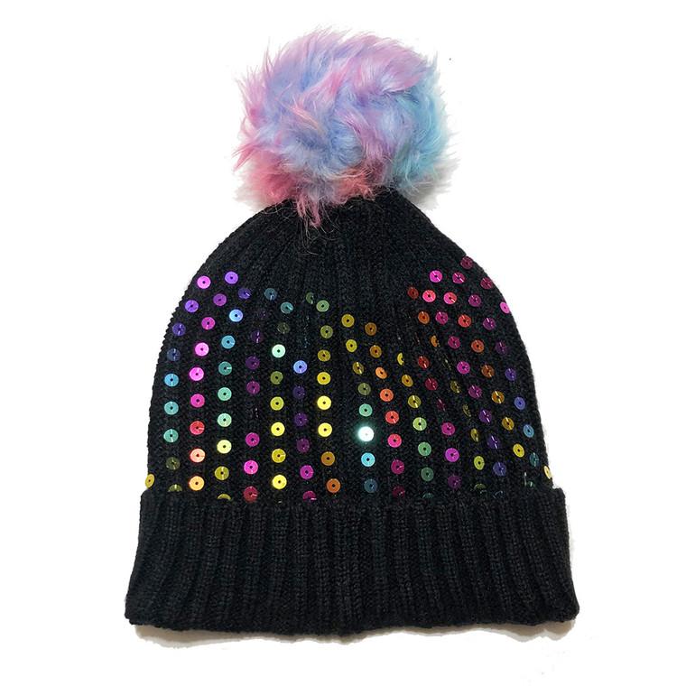 Kids Sequin Pom Pom Hat - Black